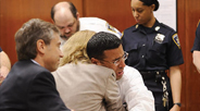 "Daily News, November 12, 2009: ""Fernando Bermudez declared innocent after serving 18 years in prison for murder…hugs his attorney, Lesley Risinger."""