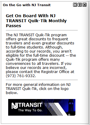 NJ Transit Student Discounted Tickets