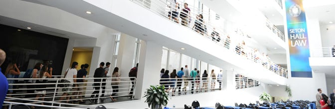 Students touring law school building